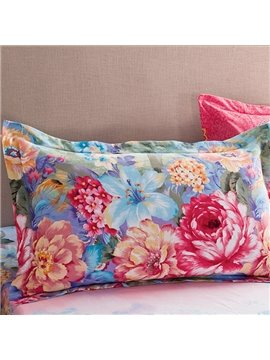 Magnificent Blooming Flowers Pattern Cotton 2-Piece Pillow Cases