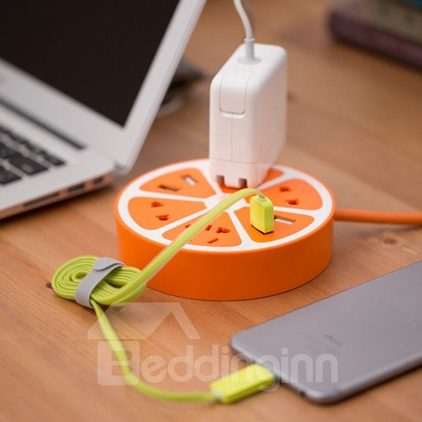 Creative Round Functional lemon Table Power Socket with Universal Serial Bus