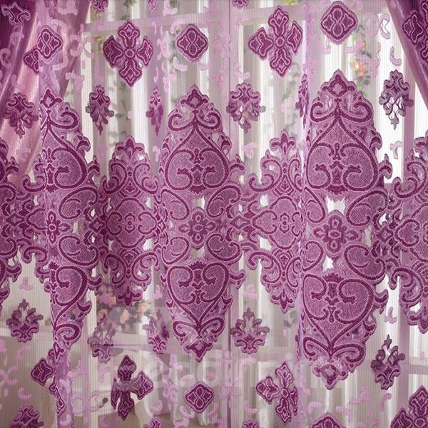 Elegant Pierced Purple Custom Sheer Curtain