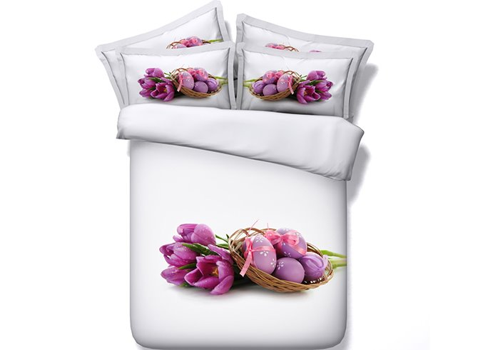 New Charming Purple Tulips and Eggs 4 Pieces Bedding Sets