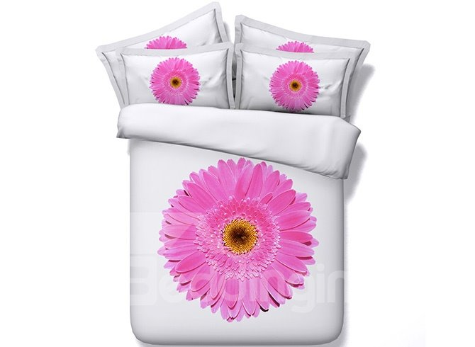 Magnificent Pink Daisy Printed 4 Piece Cotton Bedding Sets
