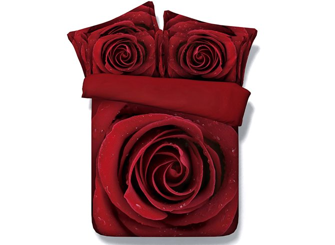 New Style Amazing Red Rose Printed 4 Piece Cotton Bedding Sets