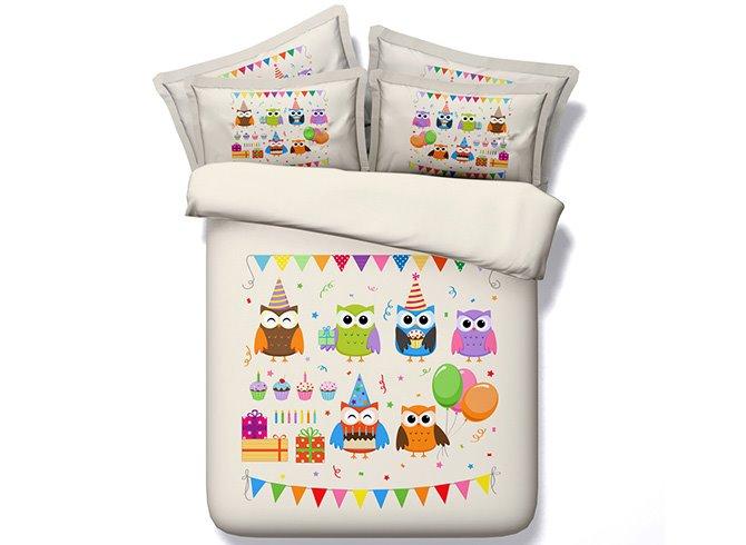 New Arrival Cartoon Owl Image Cotton 4-Piece Duvet Cover Sets