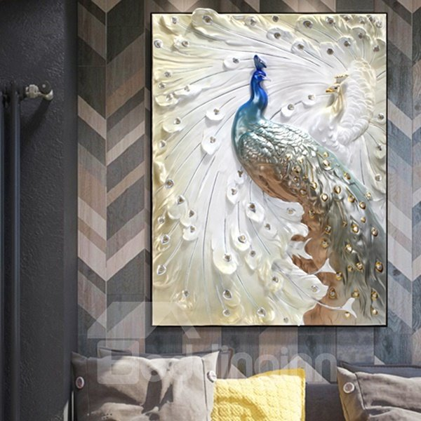 Delicate Three Dimensional Sculpture Peacock Wall Art