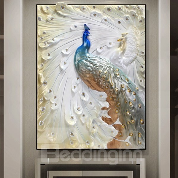 Delicate three dimensional sculpture peacock wall art for Peacock wall art