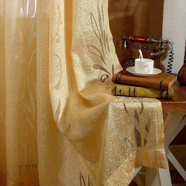 Modern Style Golden Custom Sheer Curtain