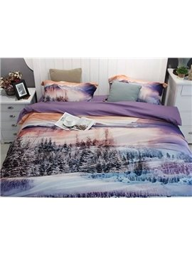 Pine Tree Violet Scenery 4-Piece Print Cotton Bedding Set