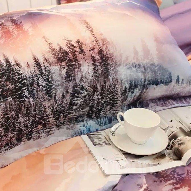 Pine Tree Violet Scenery 4-Piece Print Cotton Bedding Set
