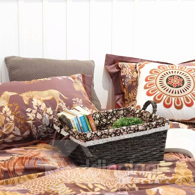 Bohemian Splendid Leopards and Giraffes 4-Piece Brown Print Cotton Bedding Set