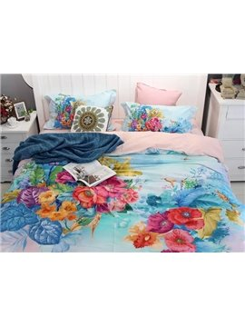 Floral Zebras and Deers Blue 4-Piece Print Cotton Bedding Set