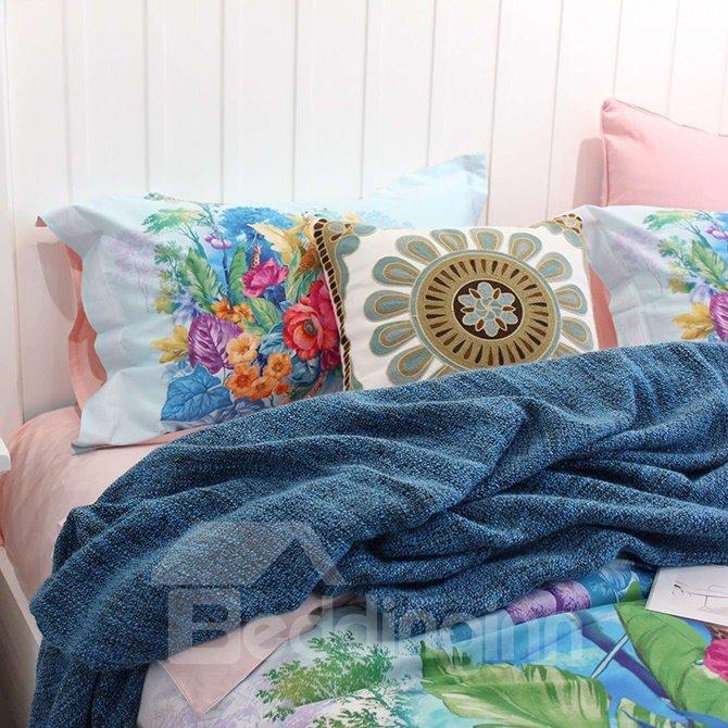 Floral Zebras and Deers Blue 4-Piece Print Cotton Bedding Set