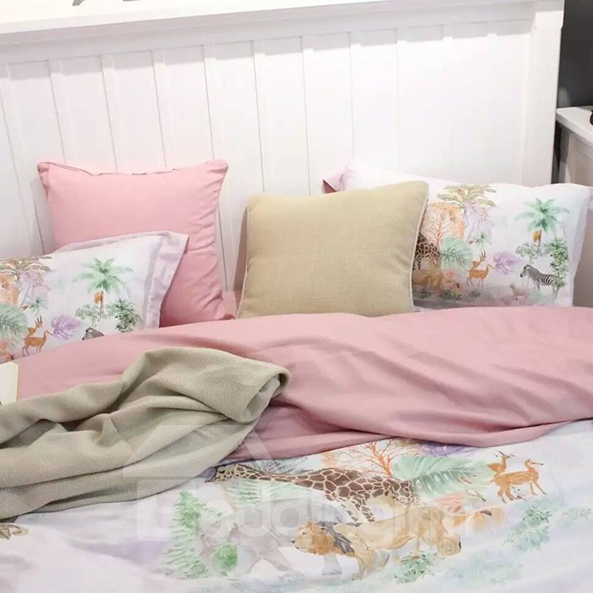 Fresh Style Floral 4-Piece Print Cotton Bedding Set