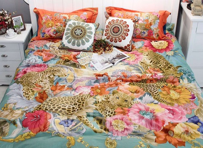 Bohemian Leopards and Big Flowers Colorful 4-Piece Cotton Bedding Set