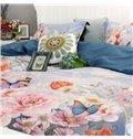 Big Flowers and Butterflies Soft 4-Piece Print Cotton Bedding Set