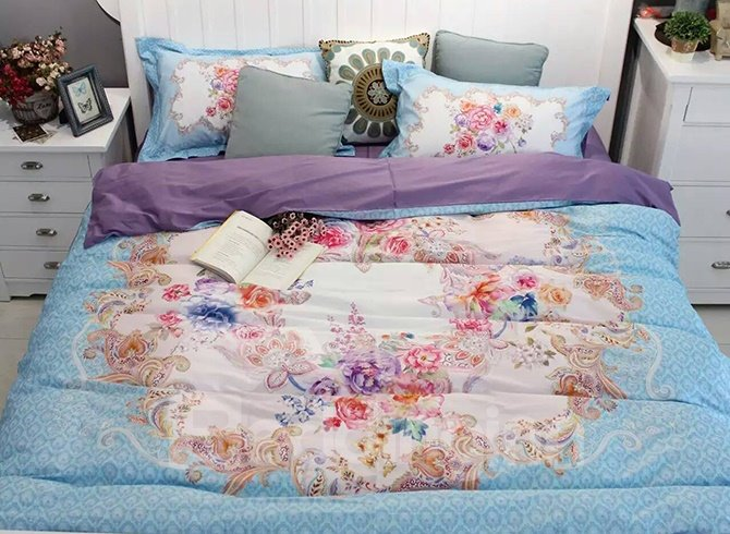 Luxurious Retro Big Flowers Blue 4-Piece Print Cotton Bedding Set