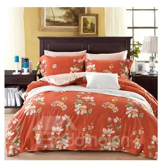 American Country Style Big Flowers 4-Piece Print Cotton Bedding Set