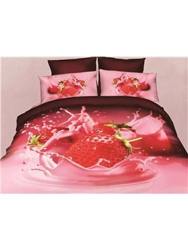 Fancy Tempting Strawberry Printed 4-Piece Duvet Cover Sets