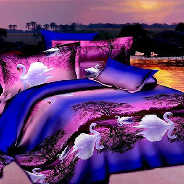 New Arrival Graceful White Swan Purple Cotton 2-Piece Pillow Cases