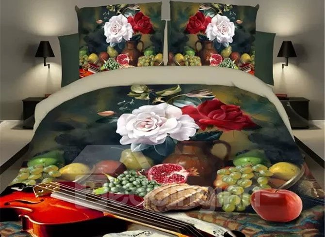 Fancy Violin and Colorful Flowers 4-Piece 3D Polyester Duvet Cover Sets