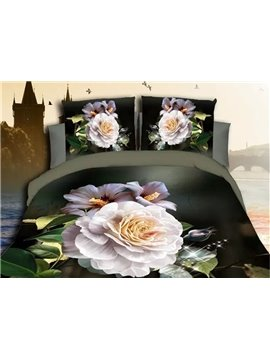 High-grade Glamorous White Peony 4-Piece 3D Polyester Duvet Cover Sets