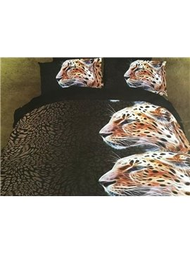 Unique Design Vigorous Leopard 4-Piece 3D Polyester Duvet Cover Sets
