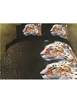 Unique Design Vigorous Leopard 4-Piece 3D Polyester Duvet Cover Sets
