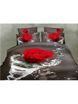Beautiful Rose in Water Design 4-Piece 3D Polyester Duvet Cover Sets