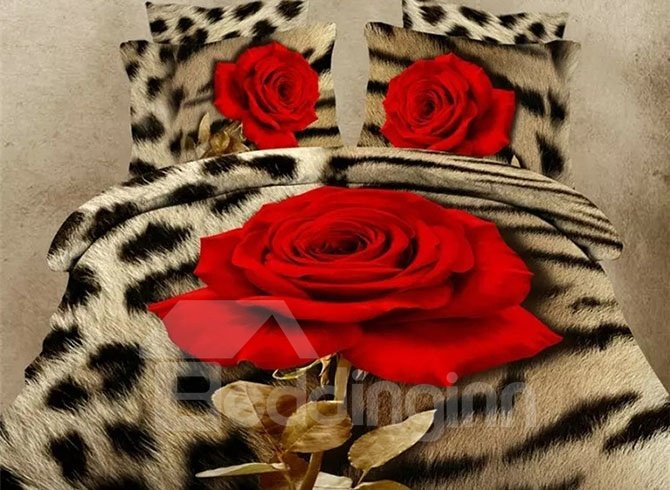 Chic Beautiful Rose Image 4-Piece 3D Polyester Duvet Cover Sets