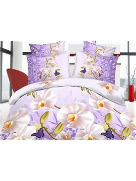 Elegant White Flower Print 4-Piece 3D Polyester Duvet Cover Sets