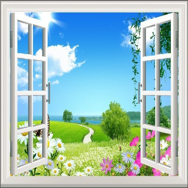 Beautiful Countryside style Flowers and trees Wall Stickers
