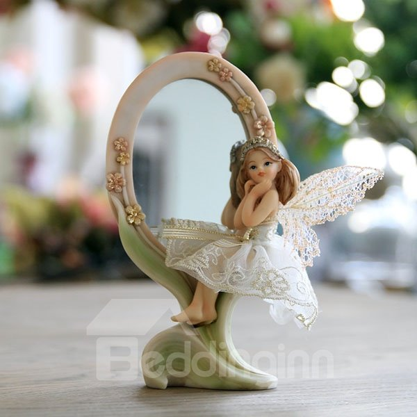 Beautiful European Style Angel Mirror Desktop Decoration