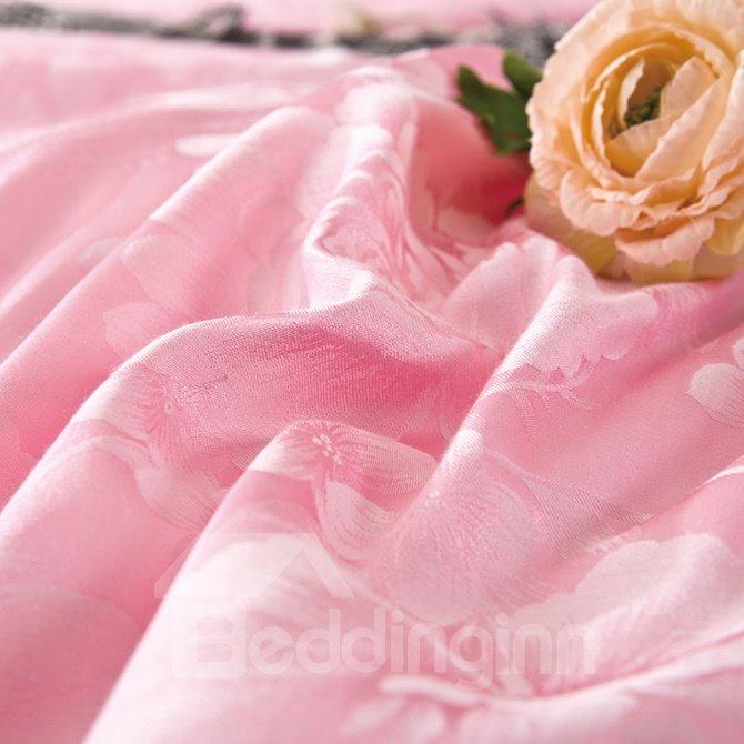 Pink Graceful Big Flowers 4-Piece Jacquard Bamboo Fabric Bedding Set