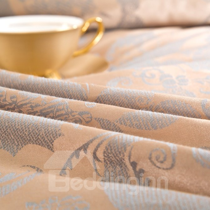 Luxurious Courtly Style Jacquard 4-Piece Bamboo Fabric Bedding Set