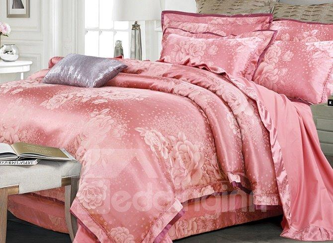 Graceful Soft Big Roses Jacquard 4-Piece Bamboo Fabric Bedding Set