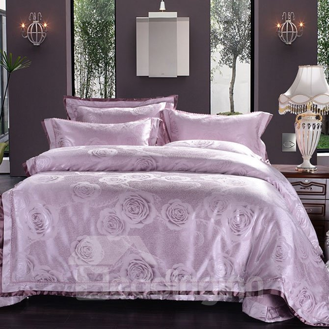 Graceful Violet Peonies Jacquard 4-Piece Bamboo Fabric Bedding Set