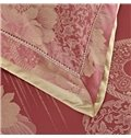 Luxurious Red Peonies Chinese Style Soft 4-Piece Jacquard Bamboo Fabric Bedding Set