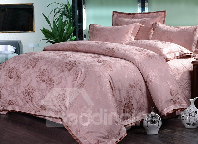 Elegant Soft Pink Peonies 4-Piece Jacquard Bamboo Fabric Bedding Set