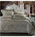 Dark Green Graceful 4-Piece Jacquard Bamboo Fabric Bedding Set