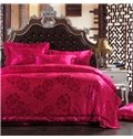 Romantic Roses Red Jacquard 4-Piece Bamboo Fabric Bedding Set