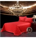 Bright Red Romantic Big Roses Jacquard 4-Piece Bamboo Fabric Bedding Set