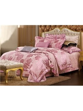 Cameo Brown Soft Big Flowers Jacquard 4-Piece Bamboo Fabric Bedding Set