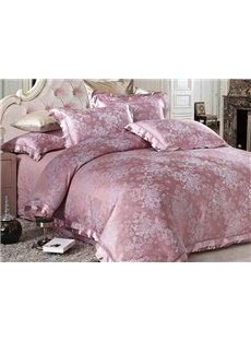 Graceful Pale Mauve Little Flowers Jacquard 4-Piece Bamboo Fabric Bedding Set