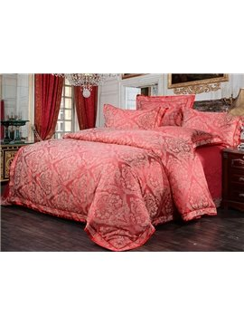 Noble Courtly Style Elegant Red Jacquard 4-Piece Bamboo Fabric Bedding Set