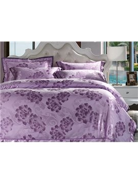 Graceful Lilac Big Flowers Jacquard 4-Piece Bamboo Fabric Bedding Set