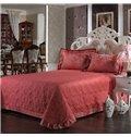 Elegant Vector Flowers Red Jacquard 4-Piece Bamboo Fabric Bedding Set
