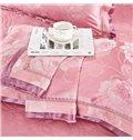 Soft Pink Big Roses Jacquard 4-Piece Bamboo Fabric Bedding Set