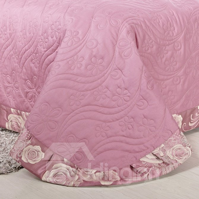 Gorgeous Retro Big Flowers Jacquard 4-Piece Bamboo Fabric Bedding Set