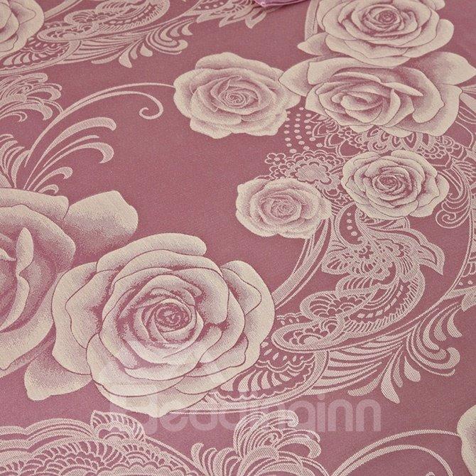 Gorgeous Retro Big Flowers Jacquard 4-Piece Bamboo Fabric Bedding Set