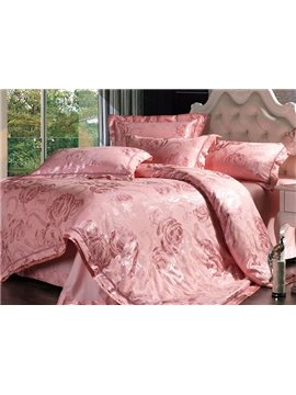 Gorgeous Pink Retro Big Flowers Jacquard 4-Piece Bamboo Fabric Bedding Set