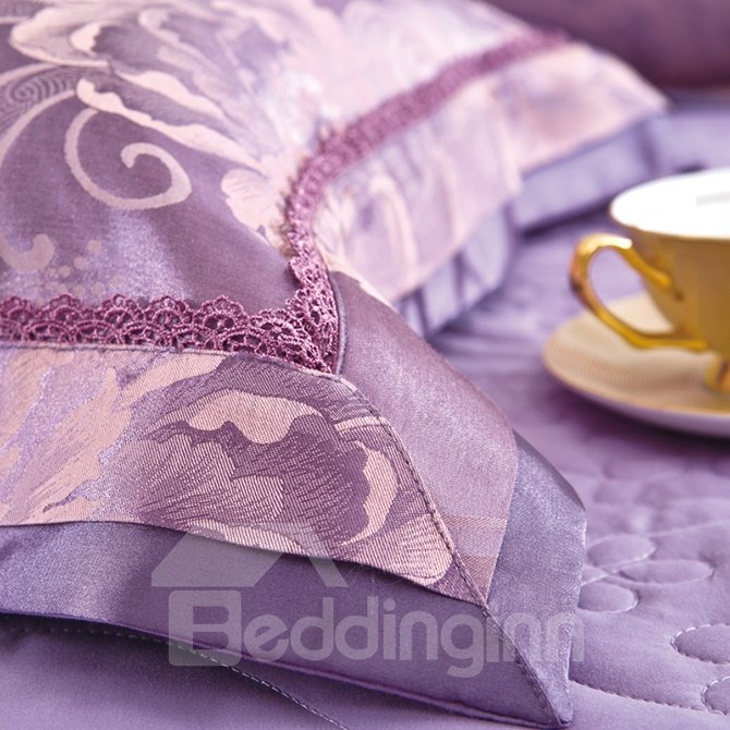Graceful Purple Big Flowers Jacquard 4-Piece Bamboo Fabric Bedding Set
